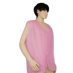 China manufacturer disposable sock puppet, disposable pp nonwoven waistcoat, pink color disposable PP waistcoat