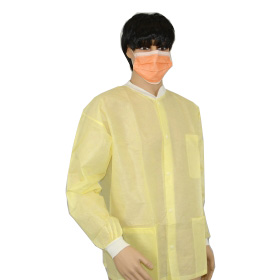 disposable long sleeve lab coats,disposable surgical coat for hospital,three pocket yellow lab coat