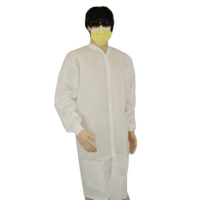cheap pp disposable lab coats,white PP30g antistatic lab coats,sterile packing disposable lab coat