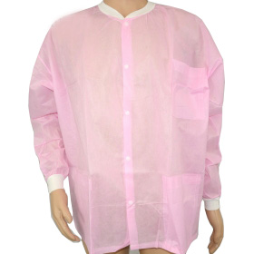 cheap pink knit collar lab coat ,spp visitor coat for food factory,nonwoven lab coats in China