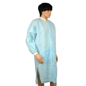 disposable pp non-woven visit gown,China exporter disposable vistor clothing,hot sales cheap disposable PP vistor coat